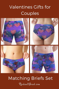Matching Underwear Set with Valentines hearts by Artist Rachael Grad