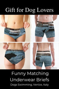 Gift for Dog Lovers: Funny Matching Underwear Briefs, Dogs Swimming by Artist Rachael Grad
