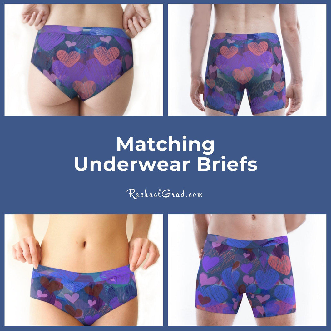 Matching Underwear Briefs with Hearts for Valentines Gift by Artist Rachael Grad