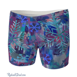 Men's Boxer Briefs with Snowflake Art by Toronto Artist Rachael Grad front view