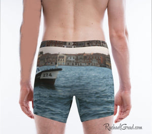 Gift for Dog Lovers: Matching Venice Dogs Underwear, Mens Boxer Briefs briefs on model back by Artist Rachael Grad