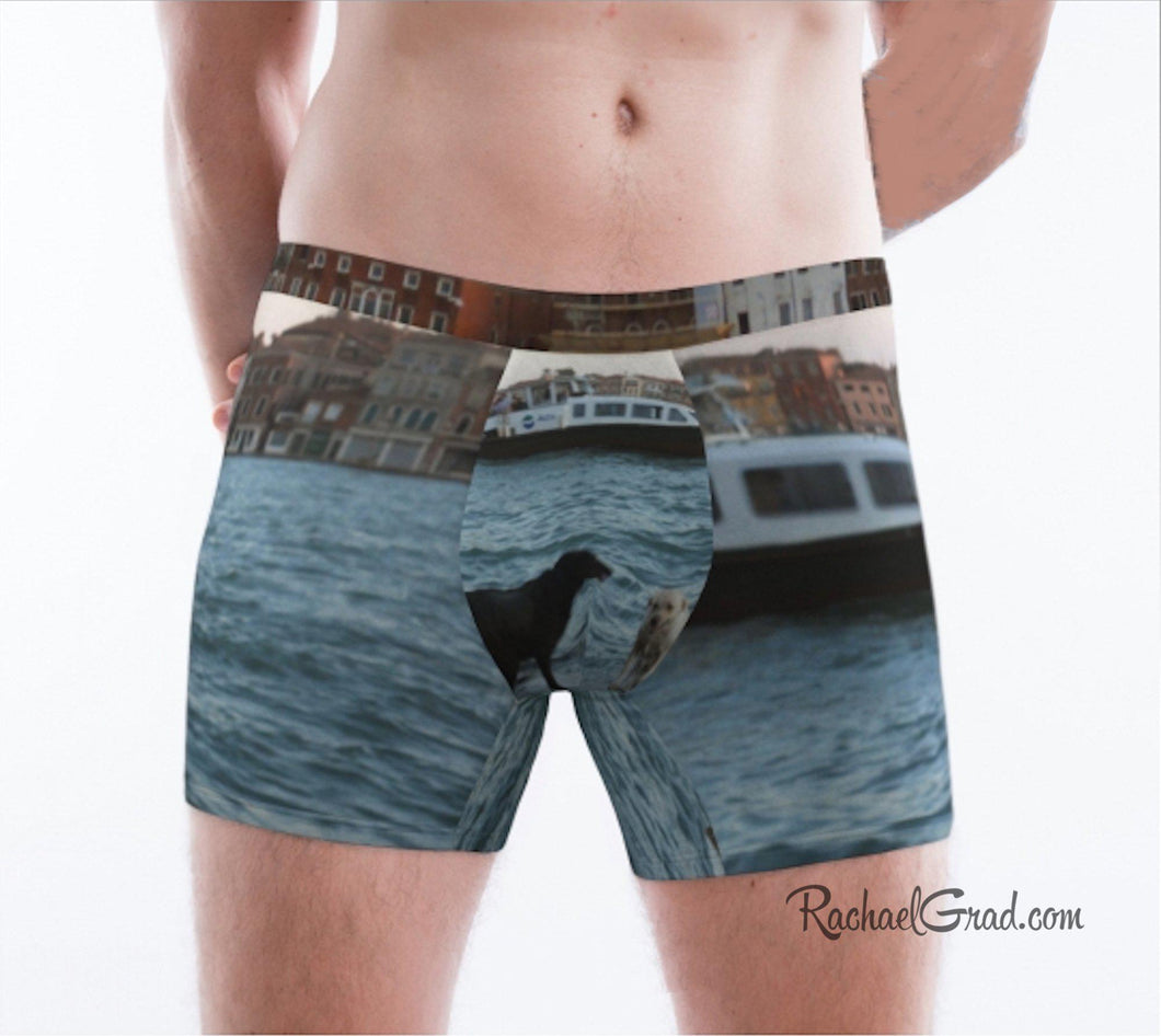 Men's Boxer Briefs Underwear Dogs Swimming Venice Italy by Rachael Grad front view on model