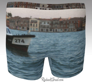 Men's Boxer Briefs Underwear Dogs Swimming Venice Italy by Rachael Grad back view Giudecca Island canal water