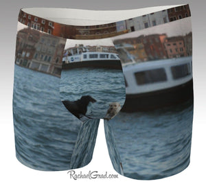 Men's Boxer Briefs Underwear Dogs Swimming Venice Italy by Rachael Grad front view Giudecca Island canal water