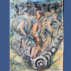 Original painting of girl riding a segway in Miami, Florida by Canadian artist Rachael Grad