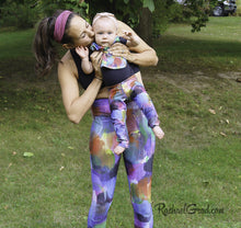 Load image into Gallery viewer, Mommy and Me Leggings by Toronto Artist Rachael Grad with Jess and Baby Rachel mom kissing baby