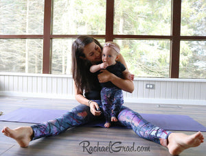 Mommy and Me Matching Leggings, Alex Black Abstract Art on Jess and Baby Rachel, by Artist Rachael Grad in pilates studio