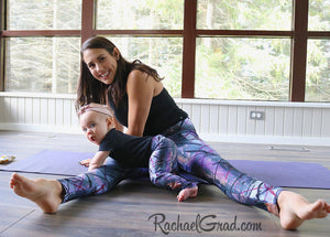 Mommy and Me Matching Leggings, Alex Black Art on Jess and Baby Rachel, by Artist Rachael Grad in pilates studio