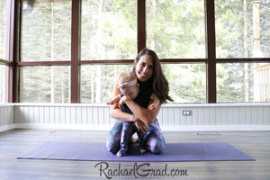 Mommy and Me Matching Leggings, Alex Black Art on Jess and Baby Rachel, by Artist Rachael Grad in pilates studio kneeling