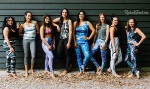 athletic tops and leggings by Canadian Artist Rachael Grad on group of pilates instructors
