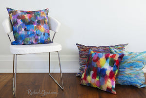 Pillowcase - Turquoise Yellow Abstract-Pillows-Canadian Artist Rachael Grad