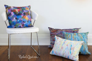 Colorful Abstract Art Pillows in a group of 4 by Canadian Artist Rachael Grad