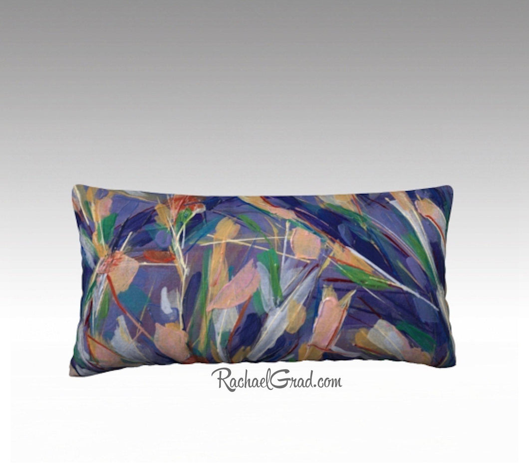 Pink Purple Flowers Art Pillow, Abstract Art Long Pillowcase, Abstract Floral PillowCover, Velvet Linen Pillowcase, Purple Decorative Pillow by Artist Rachael
