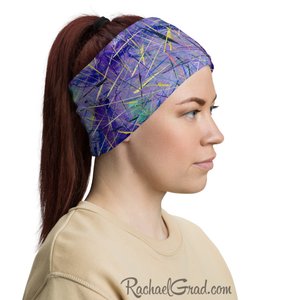Purple Face Mask as Head Bandana by Artist Rachael Grad side view