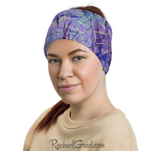 Load image into Gallery viewer, Purple Face Mask as Head Bandana by Artist Rachael Grad