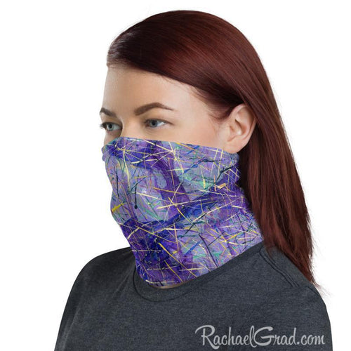 Purple Face Mask by Artist Rachael Grad on woman