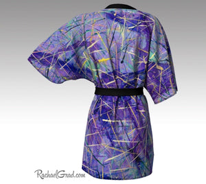 Purple Art Robes for Women, Holiday Gift for Her, Purple Kimono Bathrobe, Purple Robes, Original Art Robe, Purple Abstract Art Brides Robes by Artist Rachael Grad