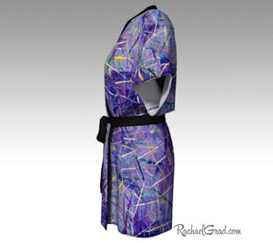 Purple Abstract Art Kimino Robes by Artist Rachael Grad side view