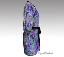 Load image into Gallery viewer, Purple Art Robes for Women, Holiday Gift for Her, Purple Kimono Bathrobe, by Artist Rachael Grad side view