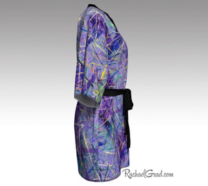 Purple Art Robes for Women, Holiday Gift for Her, Purple Kimono Bathrobe, by Artist Rachael Grad side view