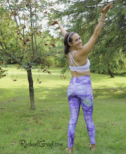 Mommy and Me Purple Leggings by Artist Rachael Grad, Jess Pilates back view