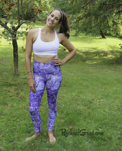 Load image into Gallery viewer, Purple Leggings | Yoga Leggings Women by Artist Rachael Grad, Jess Pilates front view