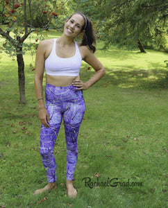 Purple Leggings | Yoga Leggings Women by Artist Rachael Grad, Jess Pilates front view