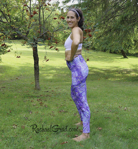 Mommy and Me Purple Leggings by Artist Rachael Grad, Jess Pilates side view