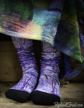 Load image into Gallery viewer, Purple Art Socks by Toronto Artist Rachael Grad