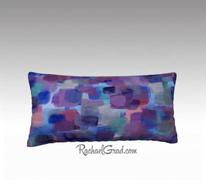 Purple Blue Pillow, Abstract Art Long Pillowcase by Artist Rachael Grad