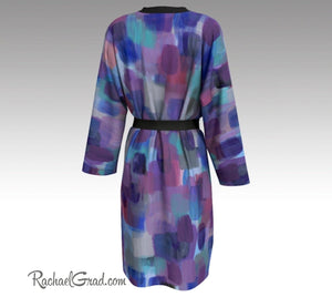 Purple Art Robe, Abstract Art Brides Robes by Artist Rachael Grad