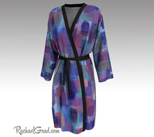 Load image into Gallery viewer, Purple Blue Bathrobe, Art Robes for Women, Holiday Gift for Her, Purple Peignoir Bathrobes by Artist Rachael Grad