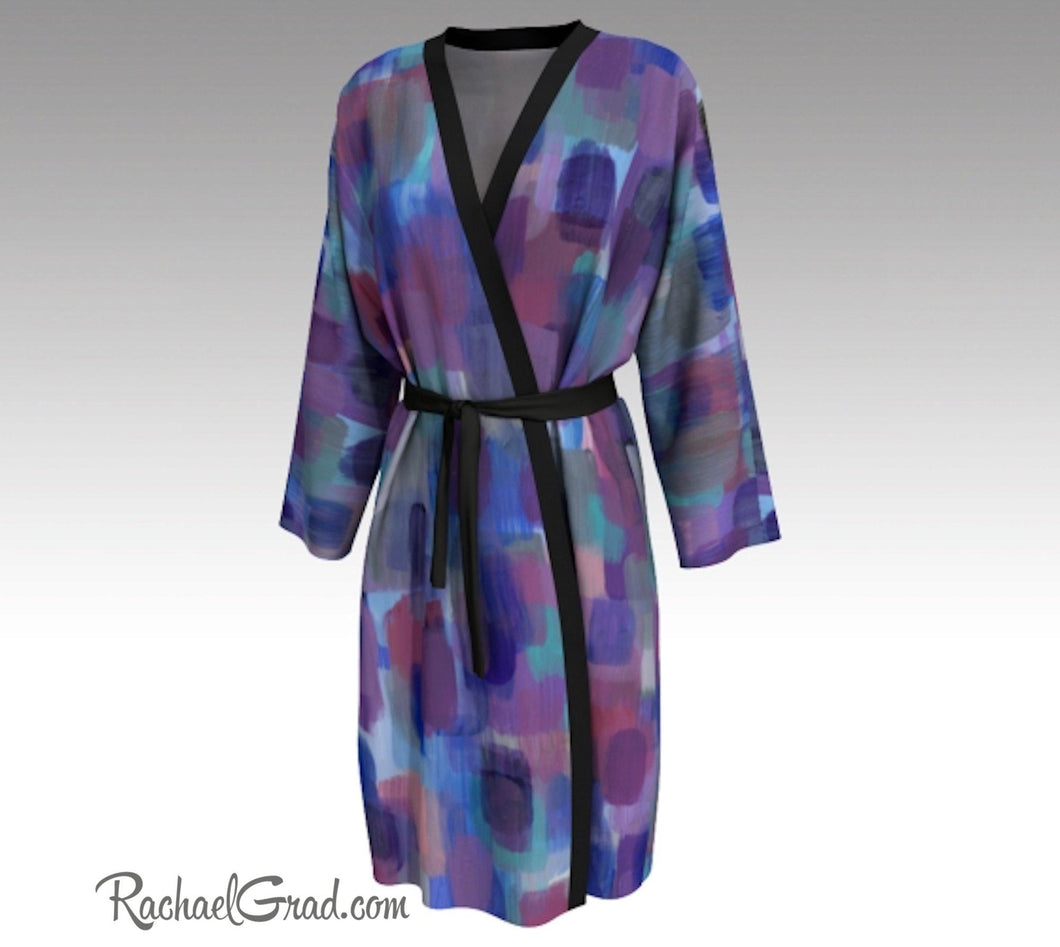 Purple Blue Bathrobe, Art Robes for Women, Holiday Gift for Her, Purple Peignoir Bathrobes by Artist Rachael Grad
