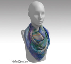 "Purple Floral Art Scarf by Artist Rachael Grad 36"" square scarves on mannequin"