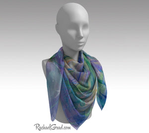 "Purple Floral Art Scarf by Artist Rachael Grad 50"" on mannequin"