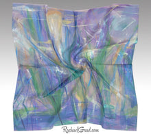 "Load image into Gallery viewer, Purple Floral Art Scarf by Artist Rachael Grad full view, 50"" square scarves"