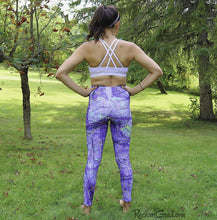 Load image into Gallery viewer, Purple Leggings Art Design by Artist Rachael Grad on Jess, back view