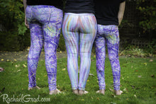 Load image into Gallery viewer, Purple Leggings Mom and Me Matching Pants by Artist Rachael Grad 3 leggings in a row back