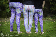 Load image into Gallery viewer, Purple Leggings for Kids by Artist Rachael Grad 3 art tights in a row