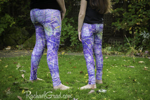 Purple Leggings with Abstract Art by Artist Rachael Grad on mom and daughter back