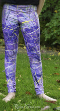Load image into Gallery viewer, Purple Leggings for Kids by Artist Rachael Grad front view