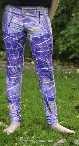 Purple Leggings for Kids by Artist Rachael Grad front view