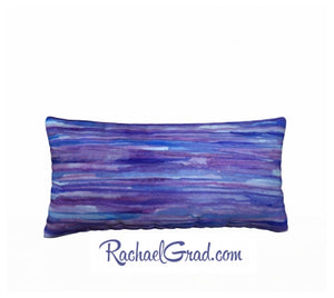 Pillowcase Purple Blue Stripes Pillows by Toronto Artist Rachael Grad back