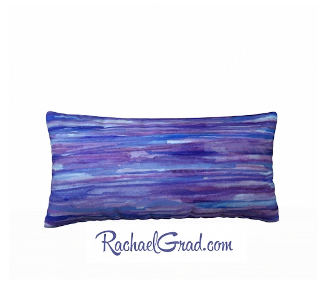 Pillowcase Purple Blue Stripes Pillows by Toronto Artist Rachael Grad front