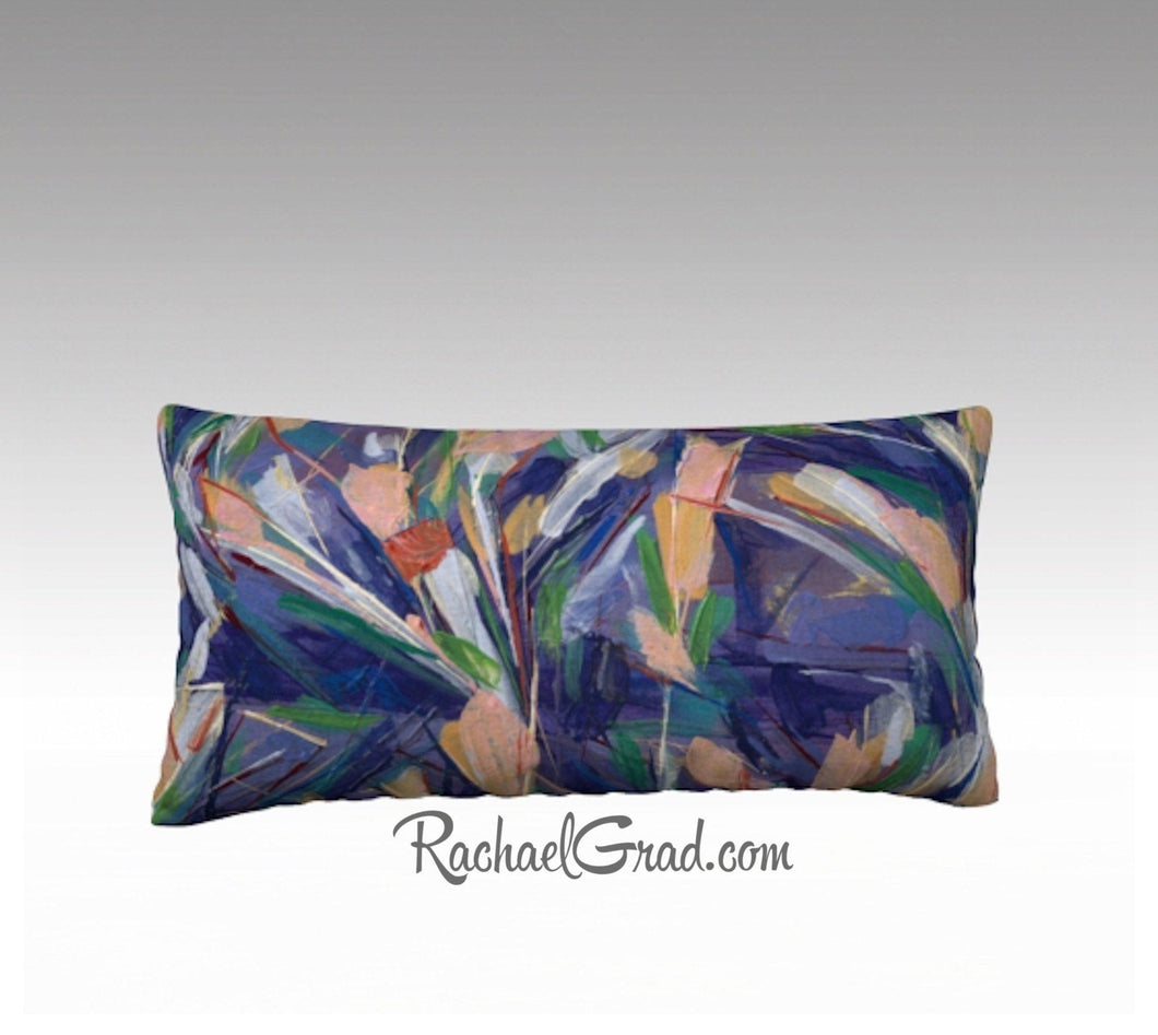 Purple Pink Flowers Art Pillow, Abstract Art Long Pillowcase, Abstract Floral PillowCover, Velvet Linen Pillowcase, Purple Decorative Pillow by Artist Rachael Grad