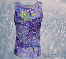Load image into Gallery viewer, Fitted Tank Top in Purple, Long Style by Toronto Artist Rachael Grad back