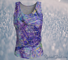 Load image into Gallery viewer, Fitted Tank Top in Purple, Long Style by Toronto Artist Rachael Grad front