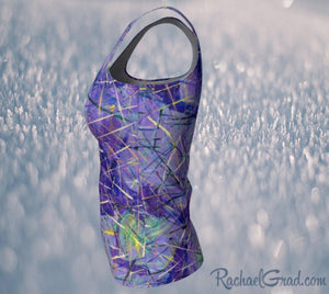 Fitted Tank Top in Purple, Long Style by Toronto Artist Rachael Grad side view
