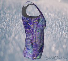 Load image into Gallery viewer, Fitted Athletic Tank Top in Purple, Long Style by Toronto Artist Rachael Grad side view