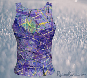 Purple Tank Top in Regular Fitted Style by Toronto Artist Rachael Grad back view